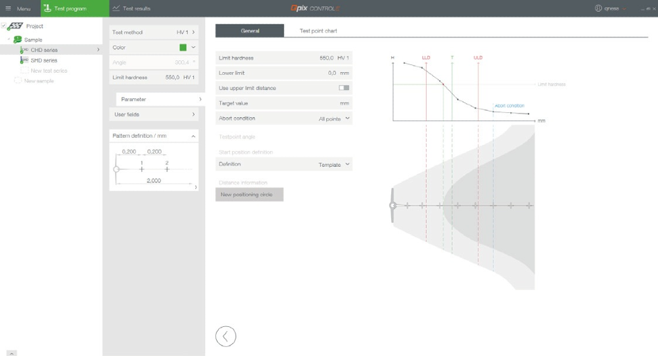Hardness testing software: setup screen with visualized graphical representation of the setting possibilities.