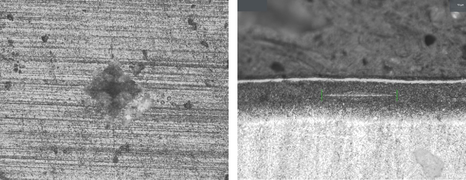 Left: Vickers indent surface of full-ceramic part 10x microscope lens Right: Knoop indent cross section ceramic layer 40x microscope lens.
