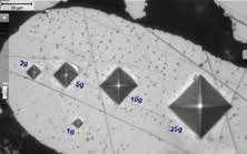 Comparison of Vickers indent sizes: HV0.001, HV0.002, HV0.005, HV0.01 and HV0.025 – Test forces between 1 g and 25 g.