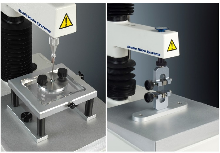 Burst strength, tensile strength and film flexibility on a Texture Analyser.