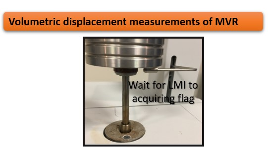 Volumetric displacement measurement of MVR using a Dynisco LMI5500.