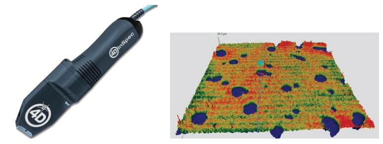 4D InSpec surface gage (left) and a false-color 3D measurement (right) of pitting on a surface, as taken with the 4D InSpec.