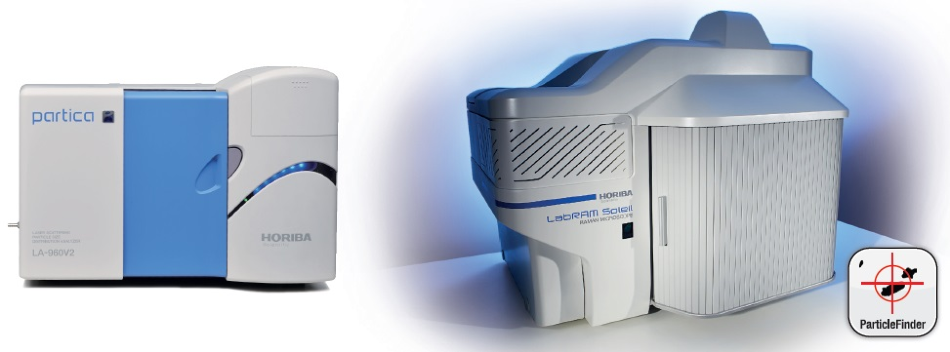 Experimental systems used for these experiments. Left: LA-960 Particle Size Analyzer.Right: LabRAM Soleil Raman micro-spectrometer