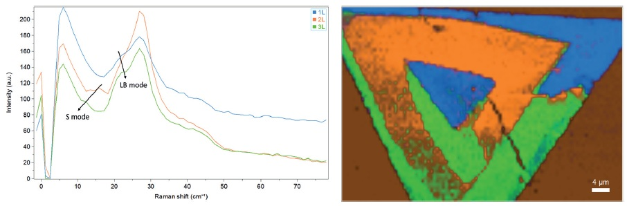 Ultra-low frequency Raman characterization of the WS2 flake. (Left) ULF reference spectra. (Right) 2D ULF map based on MCR analysis.