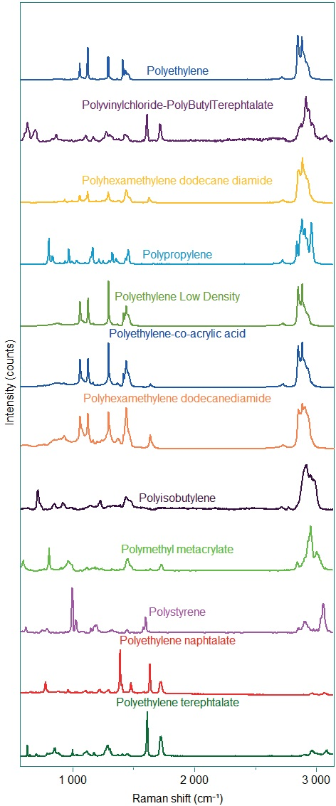 Raman spectra of different polymers.