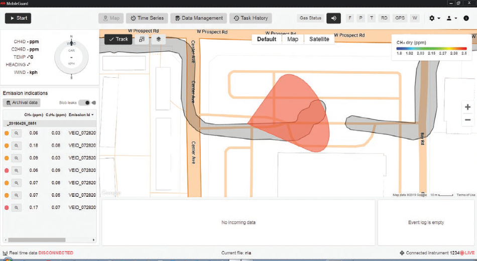 Screen capture showing continuous detection, quantification, mapping and identification of leaks in real-time.