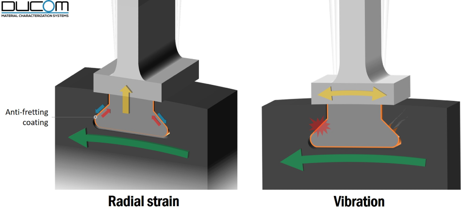 Fretting wear of turbine blades due to radial strain and vibration.