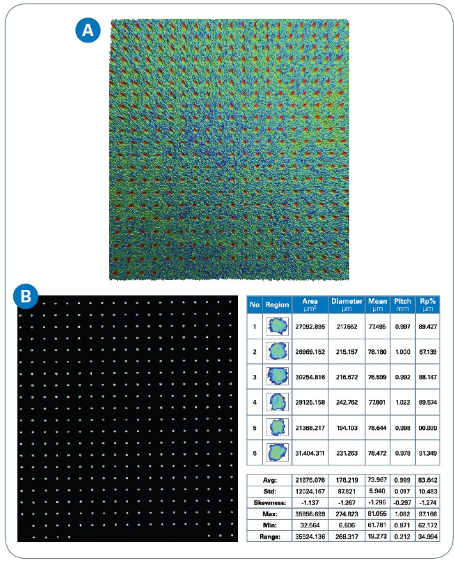 (a) 3D optical image of designed pad, and (b) automatic detection/analysis of the designed pad conditioner.