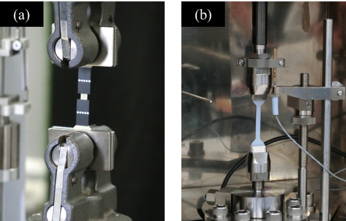 Condition of Tests. (a) Static Tensile Test, (b) High-Speed Tensile Test.