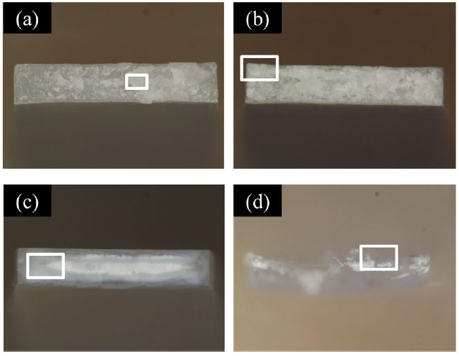 Images of Fracture Surfaces of Specimens after Test. (a) CNF10%/HDPE, 100 /s, (b) CNF10%/HDPE, 0.0001 /s, (c) HDPE, 100 /s, (d) HDPE, 0.0001 /s.