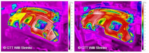 Before: clearly identifiablethermal weak points, After: thermally optimizedcomponent.