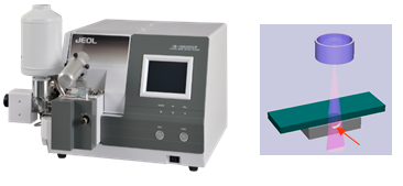JEOL Cross-section polisher. Ion beam irradiates the areaprotruding from the mask and created a pristine and polished crosssection.