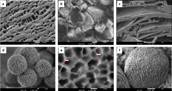 Examples of nanostructured materials imaged utilizing ultra-low accelerating voltage in FE-SEM. a) Polymer membrane used as a separator in Li batteries imaged at 100 V; b) Li battery positive electrode material imaged at 300 V; c) Cross section of polymer sheet with graphene flakes and nano-particles imaged at 500 V; d) Nanoporous oxide particles imaged at 200 V; e) Anopore inorganic membrane (aluminum oxide) for filtration imaged at 10 V; f) Blue toner particles imaged at 30 V.