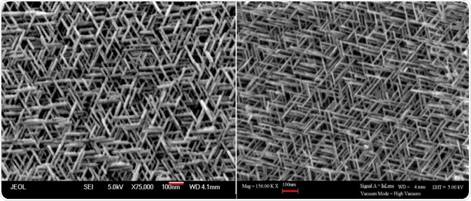 SEM images of hematite with the same enlargement of the sample despite having different magnification values stated. Left image: From a JEOL SEM Right image: From a different SEM manufacturer.