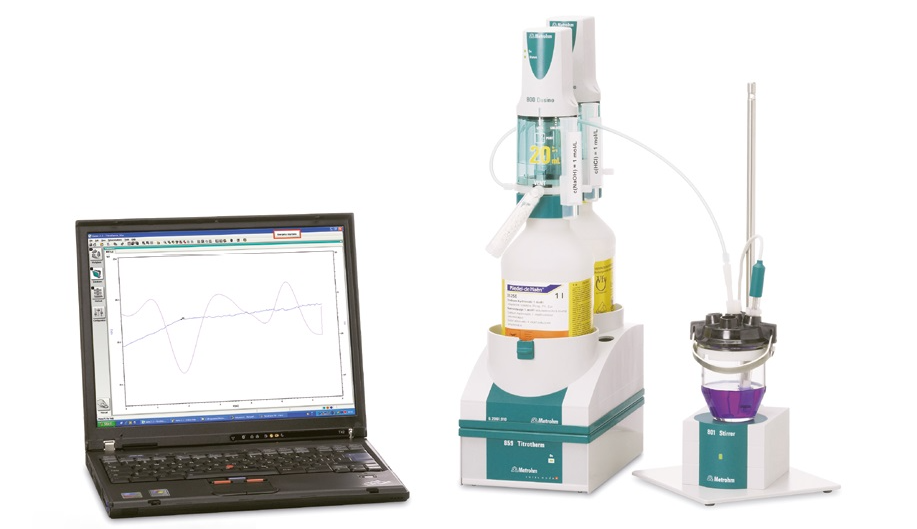 Thermometric titration system consisting of a Metrohm 859 Titrotherm equipped with a Thermoprobe for the indication and two 800 Dosinos for the titrant and addition of auxiliary solution. The system is controlled via the Metrohm tiamoTM software.