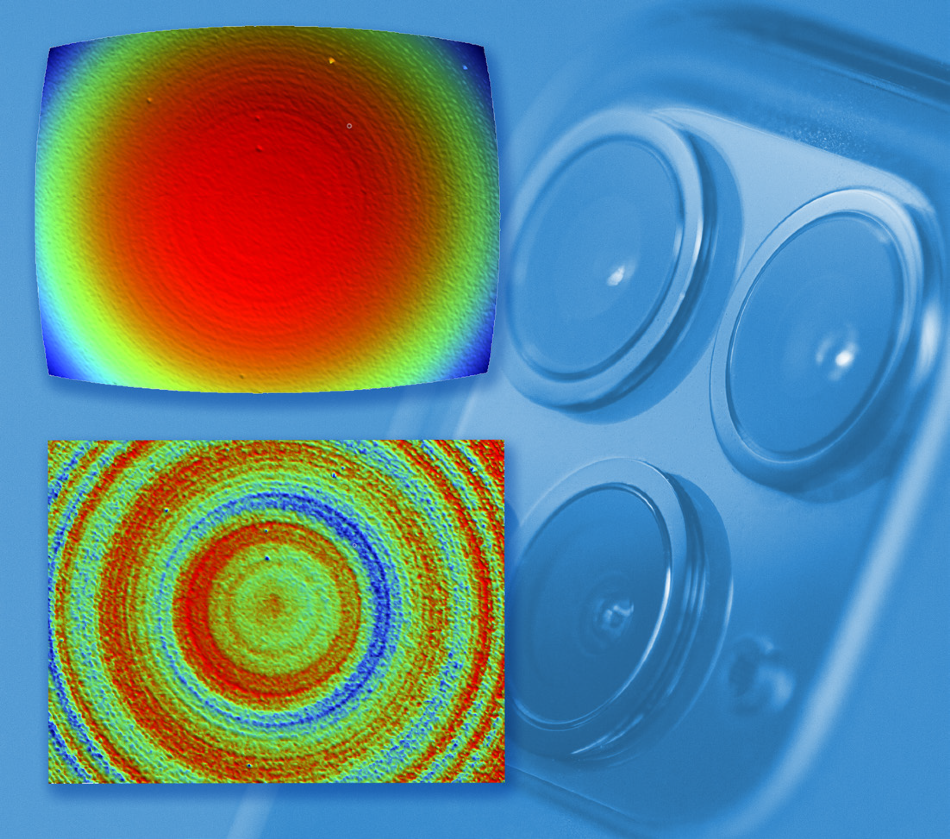 Camera lens measured (top), and with sphere shape removed (bottom).