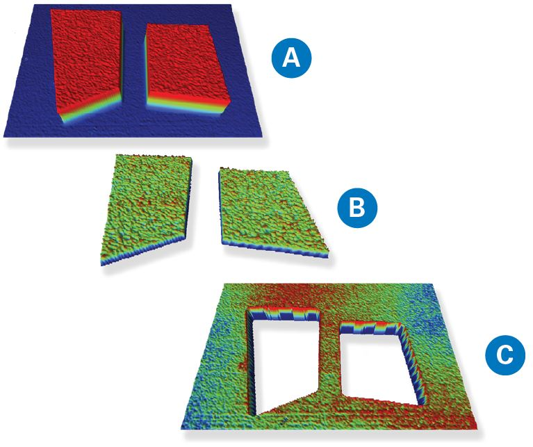 WLI images showing (a) HD sliders with ABS feature, (b) just ABS, and (c) cavity with subnanometer surface finishes.