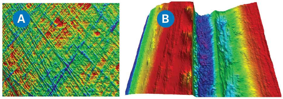 Nanometer Sa sealing surface (a) and tens of microns Sa milled surface (b) viewed with USI mode.