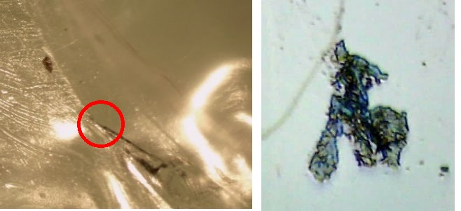 (Left) Visible defect found in plastic packaging viewed with a stereo microscope; (Right) Excised fiber rolled flat on a low-E microscope slide and imaged with the SurveyIR.