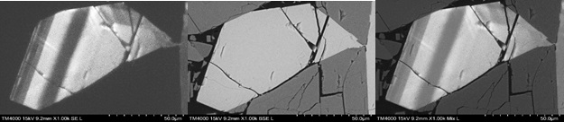 Zonation study in coarse grained syenite with alkali feldsparFrom left – CL image showing zonation, BSE image showing composition contrast and Mixed (CL + BSE) image recorded simultaneously.