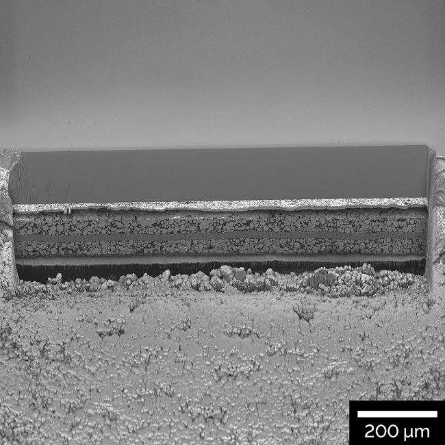 1 mm wide polished cross section of a Li-ion battery electrode
