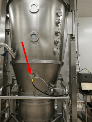 Example of the integration of inline NIRS analysis in a fluid bed dryer of a production plant.