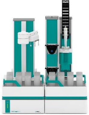 Sample Robot and OMNIS Titrator Advanced equipped with dEcotrode plus for the assay of lithium hydroxide and lithium carbonate.