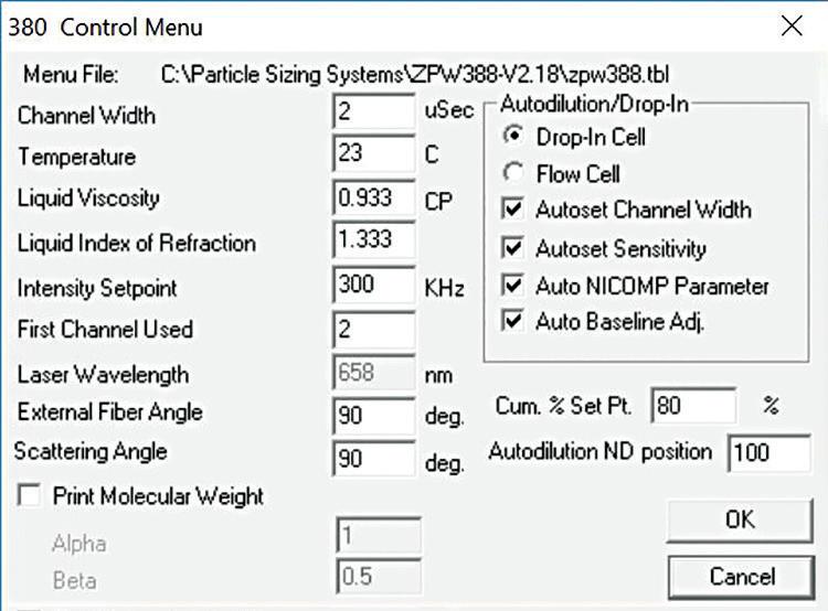 Nicomp size settings.