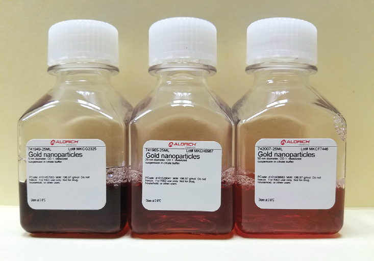 Left to right; 5, 20, and 50 nm Au sample bottles.