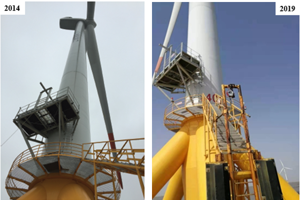 The graphene anti-corrosion coating system used in the wind turbine in 2014 to 2019.