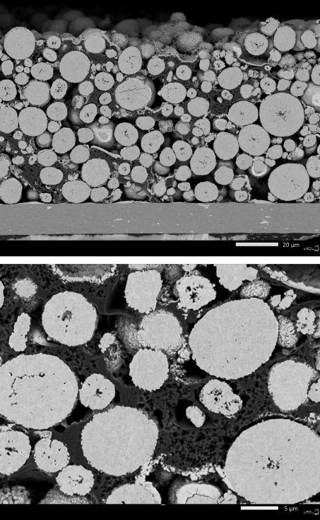 Backscatter image of LIB cross-section prepared with JEOL CP polisher.