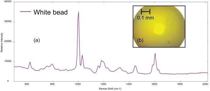 (a) Raman spectrum of polystyrene collected from (b) polystyrene bead (image not true color).
