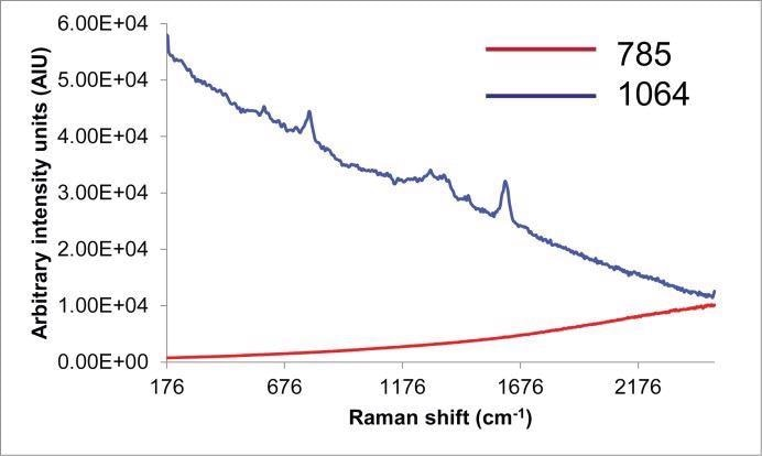 Raman spectra of Grape seed extract collected with 785nm and 1064 nm laser excitations