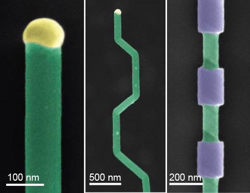 Nanowire structures. A) False-color SEM of a silicon nanowire grown by VLS (green) and the metal catalyst at the tip (yellow). B) Falsecolor SEM of crystallographic kinking that can be accomplished by manipulating the reaction conditions. C) False-color SEM of morphology that can be achieved by modulating the composition during growth, followed by etching.