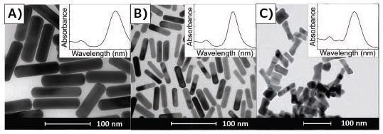 TEMs of gold nanorods demonstrating a correlation between absorbance spectra and anisotropic geometry of gold nanorods. Insets are typical corresponding UV/Vis spectra for the given shape, spanning 400–1,000 nm. A) Gold nanorods synthesized in binary surfactant system containing CTAB and BDAC. B) Gold nanorods synthesized using only CTAB. C) Dog bone- or dumbbell-shaped nanoparticles
