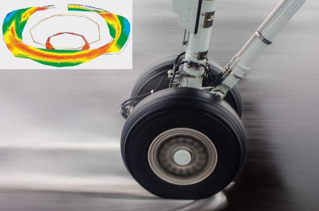 Operational deflection shape of an aircraft wheel.