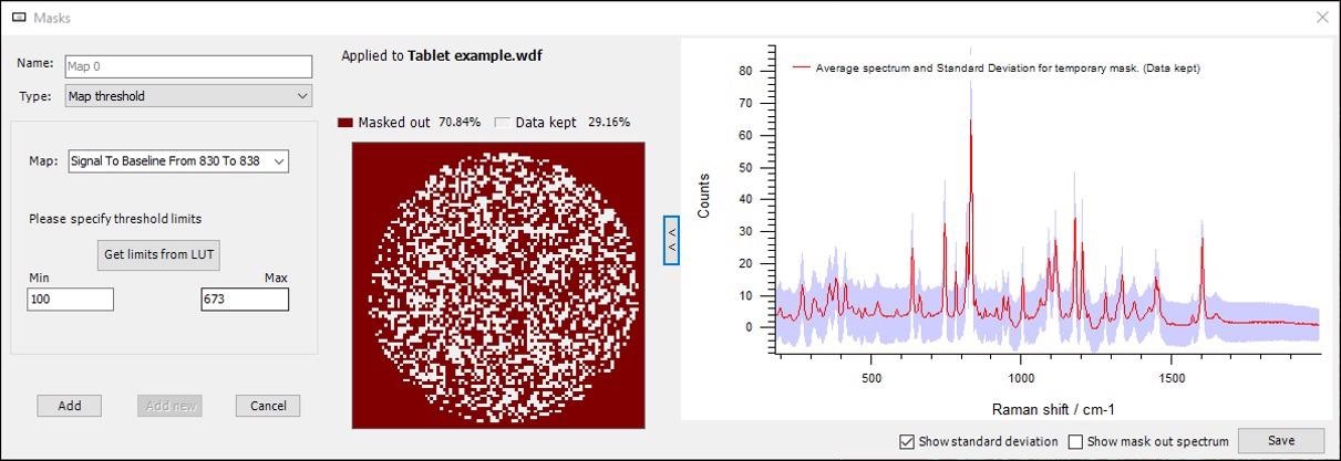 Combined shape mask with a spectral threshold mask (from Figure 2). The only regions being analysed are shown in white, with the red regions being masked. The resulting average spectrum from the white regions is sharp and has a low standard deviation
