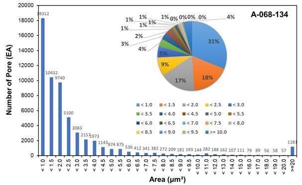 Distribution characteristics of pore area of the shale sample from Liard Basin.