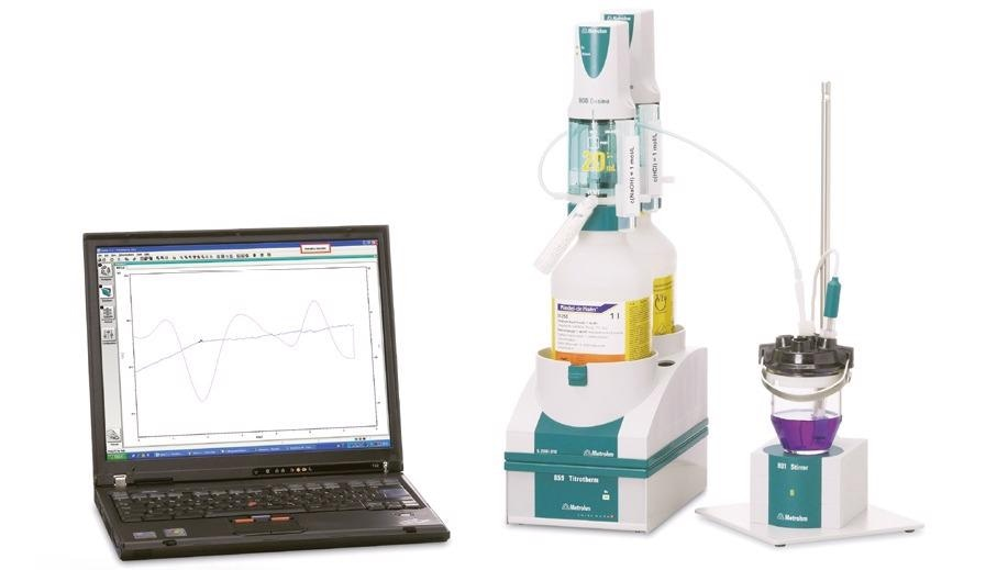 Thermometric titration system consisting of a Metrohm 859 Titrotherm equipped with a Thermoprobe for the indication andtwo 800 Dosinos for the titrant and addition of auxiliary solution. The system is controlled via the Metrohm tiamoTM software.