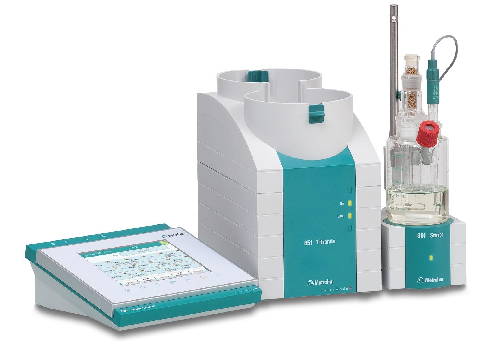 A coulometric Karl Fischer titration system suitable for ASTM D6304 Procedure A.