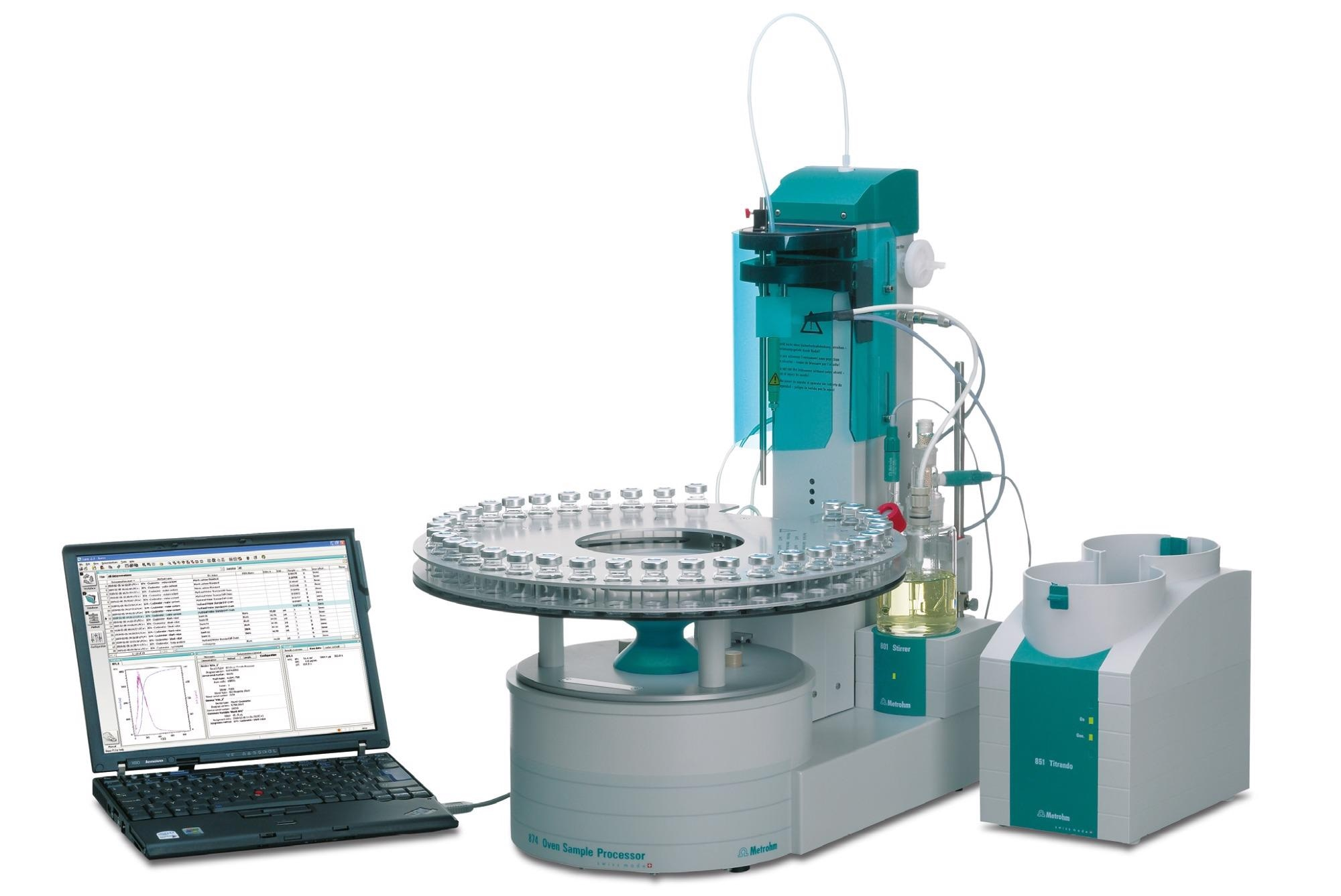 An oven evaporator with a coulometric Karl Fischer titration system suitable for ASTM D6304 Procedure B