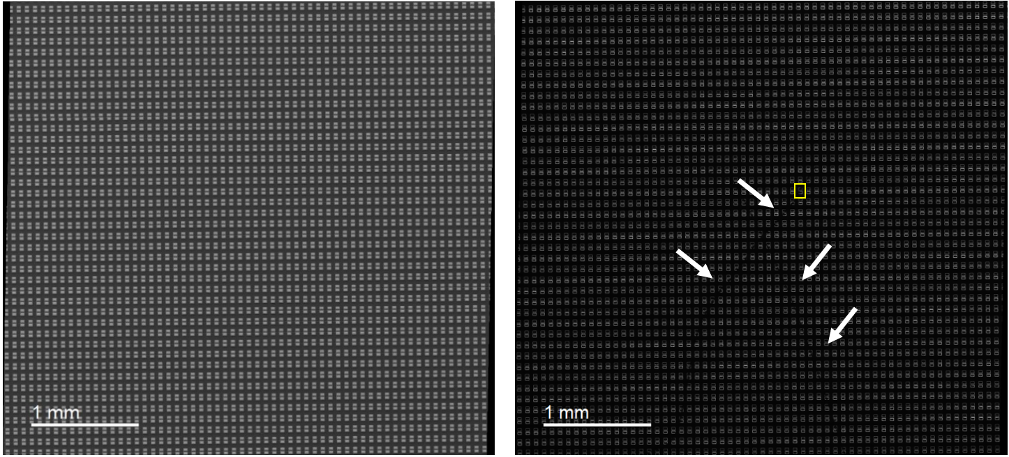 (left) Secondary electron and (right) CL image of mini-LED array. CL image reveals a series of defected LEDs in the shape of an 'x' with reduced intensity.