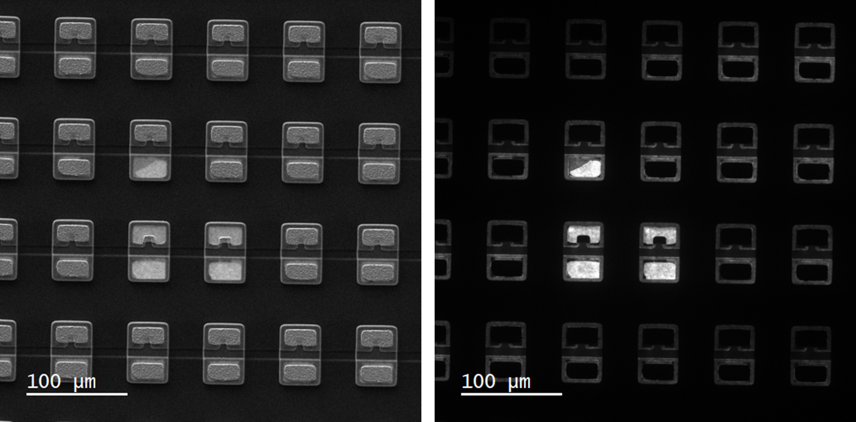 (left) Secondary electron and (right) unfiltered CL images of LEDs with missing metal contact pads.