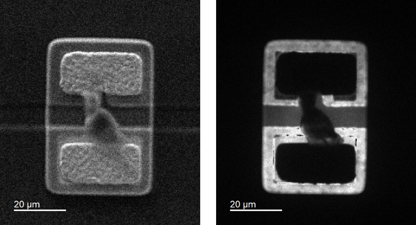 (left) Secondary electron image and (right) corresponding CL image of an electrical short defected LED.