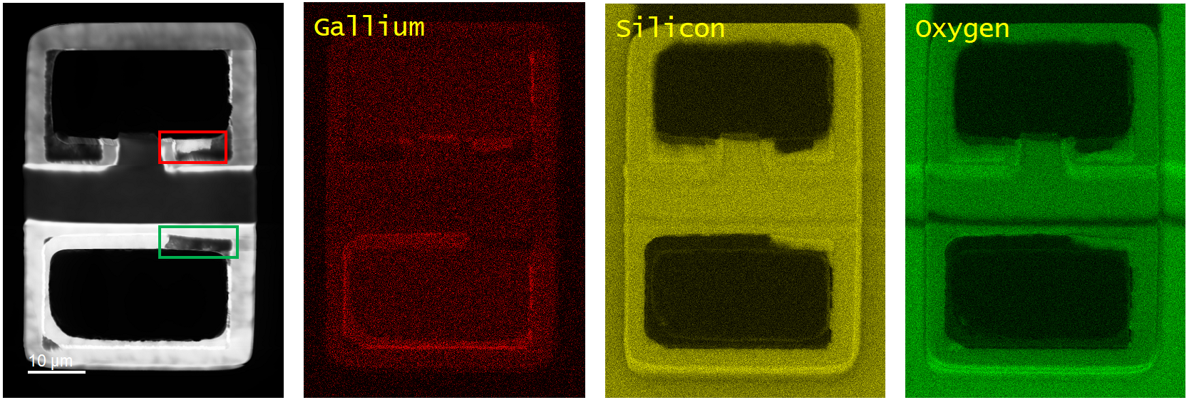 (left) Unfiltered CL image and EDS material composition results of a defect LED. EDS material mapping for gallium (red), silicon (yellow), and oxygen (green).