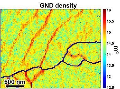 Geometrically necessary dislocation density map calculated using high-fidelity EBSD patterns collected with the Clarity Detector and HR-EBSD analysis.