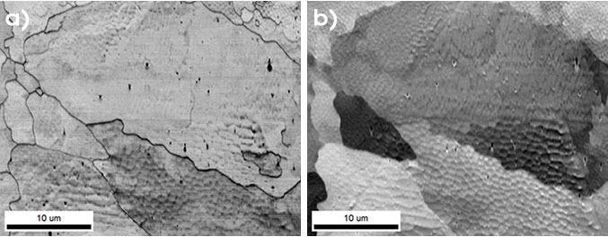 Visualization of a rapid solidification cellular microstructure developed during additive manufacturing using a) EBSD image quality and b) PRIAS center signals.