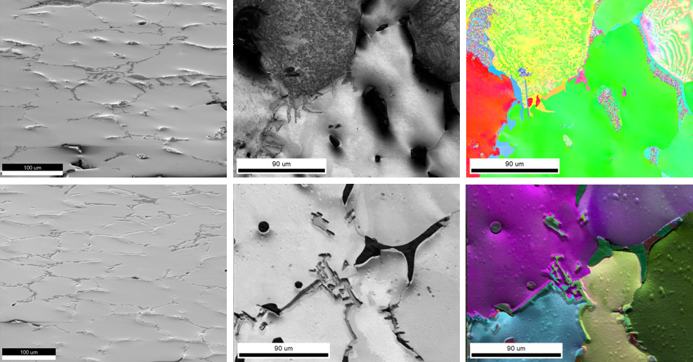 (top row) (left) Secondary electron image of polyphase Al alloy after mechanical polishing (tilted sample). Some phases did not polish well and stand out from the surface. (center) EBSD image quality (IQ) map illustrating that no diffraction patterns could be collected from the protruding grains (black areas). Two grains at the top show an intricate substructure, which is an artifact caused by mechanical polishing. This substructure is also apparent in the inverse pole figure (IPF) map (right). (bottom row) (left) Secondary electron image after ion milling (tilted sample). Most topography has been removed, and all grains now produce indexable EBSD patterns. The artificial substructures have been removed and the true grain structure is displayed in the IQ and IPF maps (center, right).