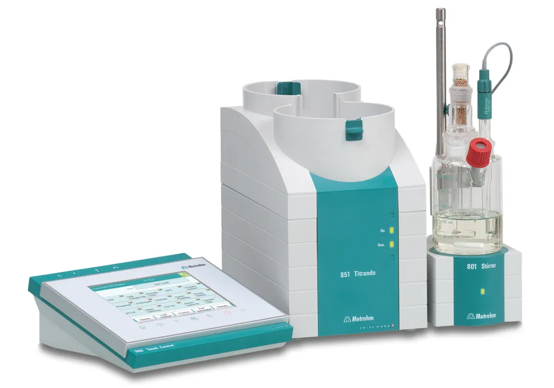 A coulometric Karl Fischer Titrator such as the851 Titrandofrom Metrohmis the basis for all three procedures of ASTM D6304.