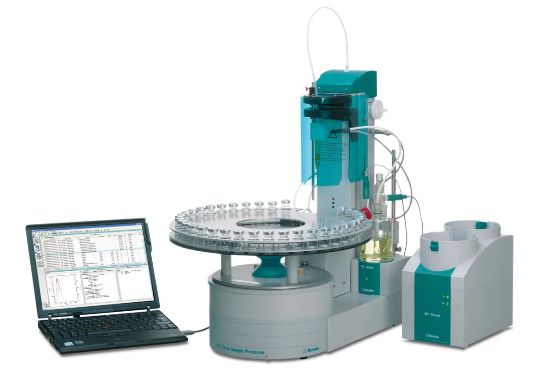 The874 Karl Fischer Oven Processorwith an 851 Titrando for a fully automated analysis according to ASTM D6304 Procedure B.